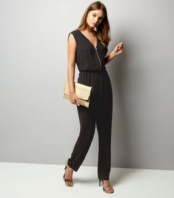 Black Zip Front Sleeveless Jumpsuit