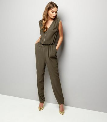Khaki Zip Front Sleeveless Jumpsuit