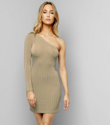 Khaki Ribbed Off the Shoulder Bodycon Dress
