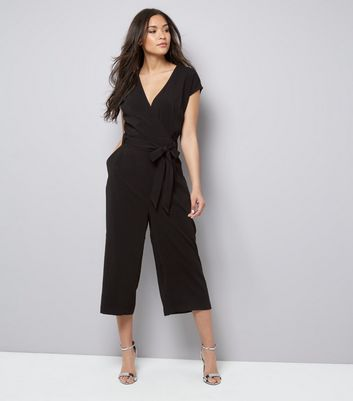 Black Wrap Front Culotte Jumpsuit