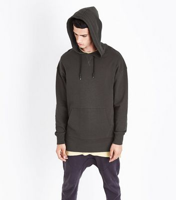 Dark Grey Dropped Shoulder Longline Hoodie