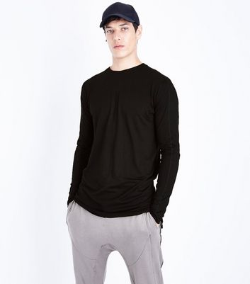 Black Seam Front Longline Long Sleeve T-Shirt