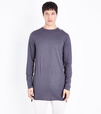 Grey Seam Front Longline Long Sleeve T-Shirt