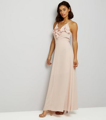 Petite Shell Pink Frill Trim Cross Strap Maxi Dress