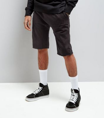 Black Panelled Drop Crotch Jersey Shorts