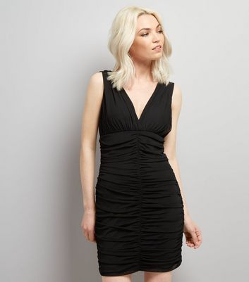 Petite Black V Neck Ruched Bodycon Dress