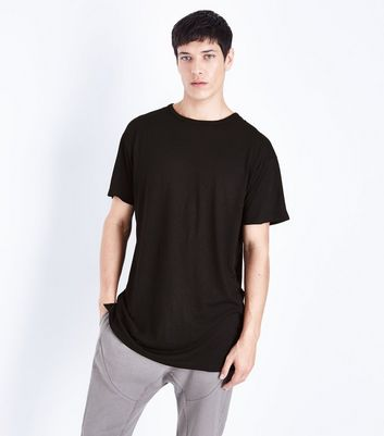 Black Split Hem Longline T-Shirt