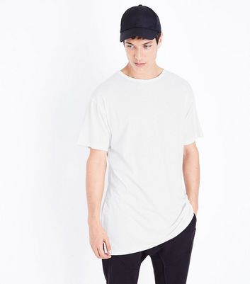 White Split Hem Longline T-Shirt