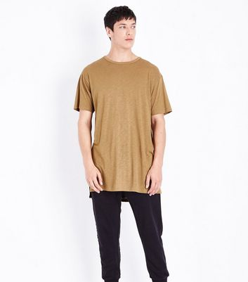 Tan Split Hem Longline T-Shirt