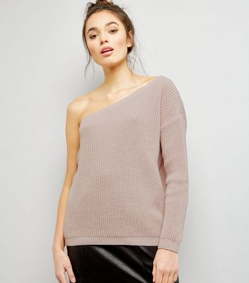 Shell Pink Off the Shoulder Jumper