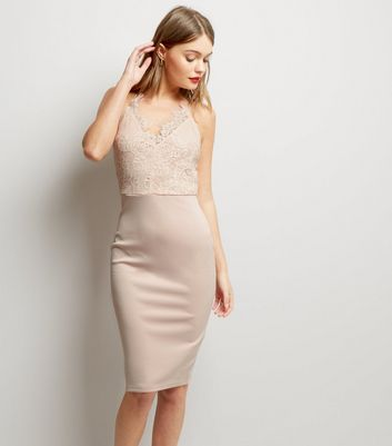 AX Paris V Neck Lace Panel Midi Dress