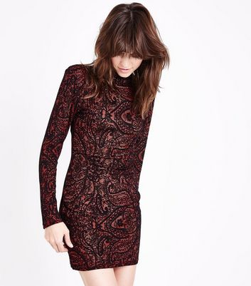 AX Paris Red Lace Long Sleeve Bodycon Dress