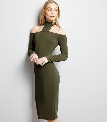 AX Paris Khaki High Neck Midi Dress
