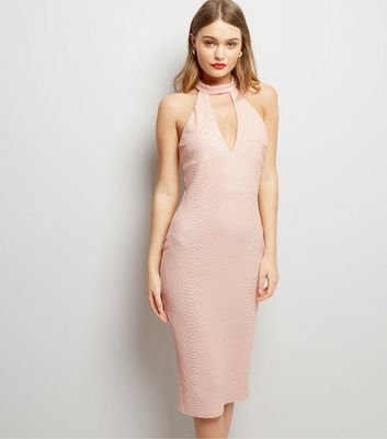 AX Paris Pink Textured Choker Neck Dress