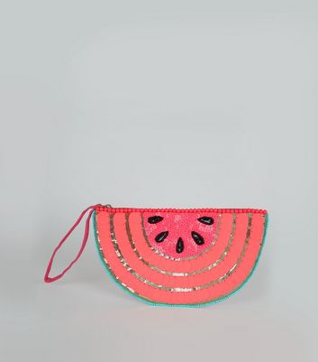 Pink Watermelon Embellished Clutch Bag