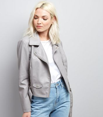 Petite Grey Leather-Look Biker Jacket