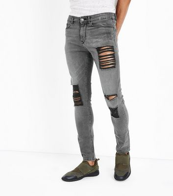 Grey Ripped Knee Skinny Jeans
