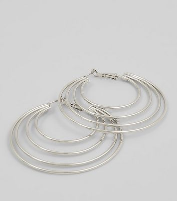 Silver Layered Hoop Earrings