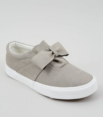 Grey Suedette Bow Front Slip On Trainers