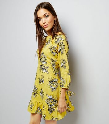 Innocence Yellow Floral Frill Trim Dress