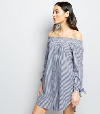 Innocence Blue Stripe Bardot Neck Shirt Dress