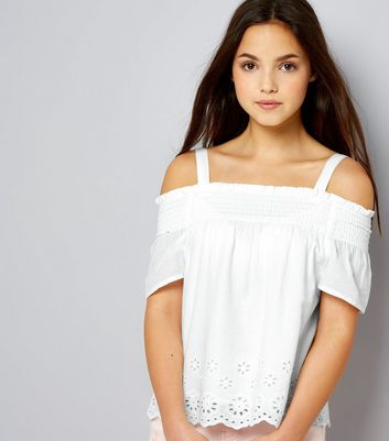 Teens White Broderie Shirred Bardot Neck Top