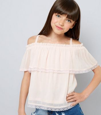 Teens Pink Lace Trim Tiered Cold Shoulder Top