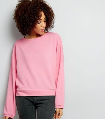 Bright Pink Batwing Sleeve Oversized Sweatshirt