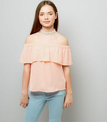 Teens Pink Frill Trim Bardot Neck Top