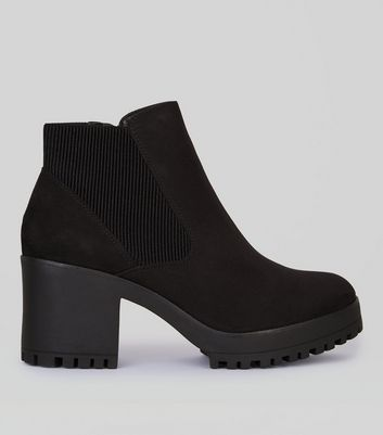 Black Suedette Elasticated Side Chelsea Boots