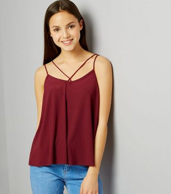 Teens Burgundy Double Strap Front Cami