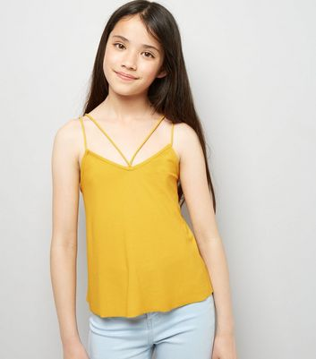 Teens Yellow Double Strap Front Cami
