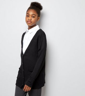 Teens Black Button Front Cardigan