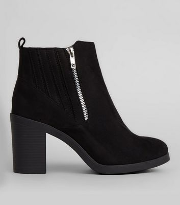 Wide Fit Black Suedette Stitch Trim Chelsea Boots