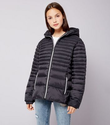 Teens Black Lightweight Puffer Jacket
