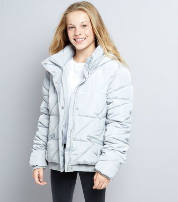 Teens Grey Hooded Puffer Jacket