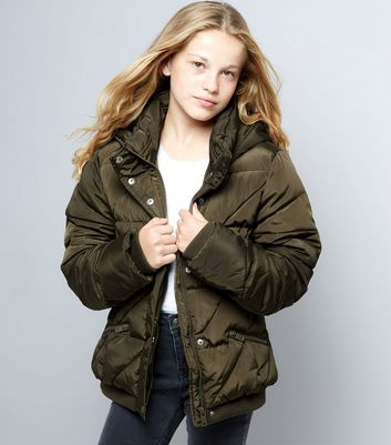 Teens Khaki Hooded Puffer Jacket
