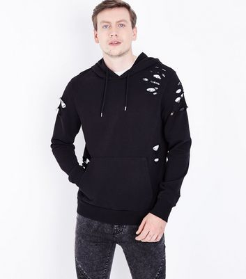 Black Ripped Pocket Front Hoodie
