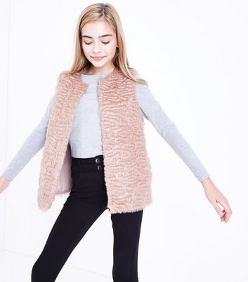 Teens Shell Pink Faux Fur Gilet