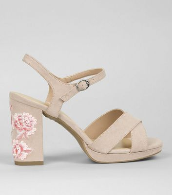 Wide Fit Nude Pink Floral Embroidered Block Heels