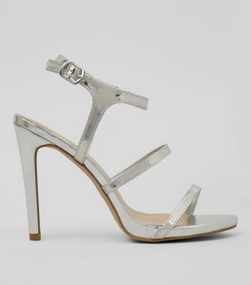 Silver Triple Strap Heeled Sandals