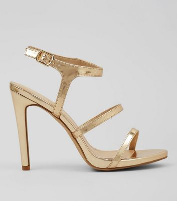 Gold Triple Strap Heeled Sandals