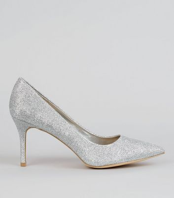 Silver Glitter Court Shoes