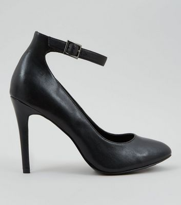 Black Leather Ankle Strap Court Shoes
