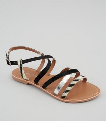 Wide Fit Black Animal Print Leather Strap Sandals