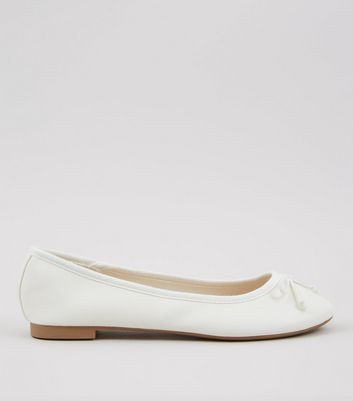 White Bow Front Ballet Pumps