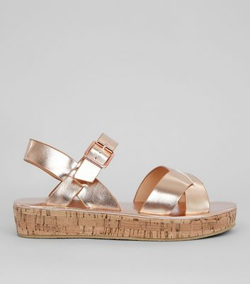 Teens Rose Gold Cork Flatform Sandals