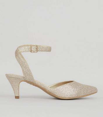 Wide Fit Gold Comfort Glitter Kitten Heels