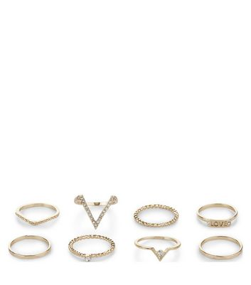 8 Pack Gold Textured Stack Rings