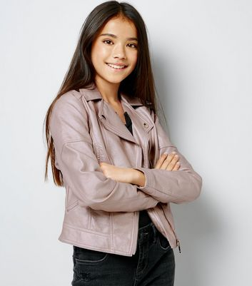 Teens Pink Metallic Biker Jacket